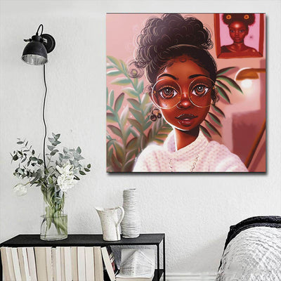"BigProStore Black History Art Pretty Melanin Poppin Girl African Black Art Afrocentric Living Room Ideas BPS16285 16"" x 16"" x 0.75"" Square Canvas"