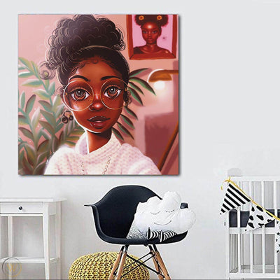 "BigProStore Black History Art Pretty Melanin Poppin Girl African Black Art Afrocentric Living Room Ideas BPS16285 24"" x 24"" x 0.75"" Square Canvas"