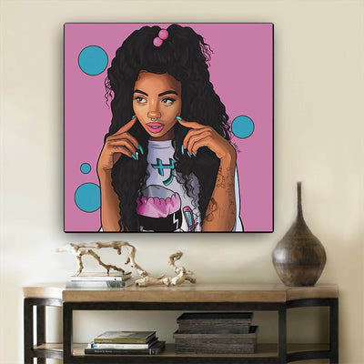 "BigProStore Black History Art Pretty Melanin Poppin Girl Framed African Wall Art Afrocentric Wall Decor BPS46119 12"" x 12"" x 0.75"" Square Canvas"
