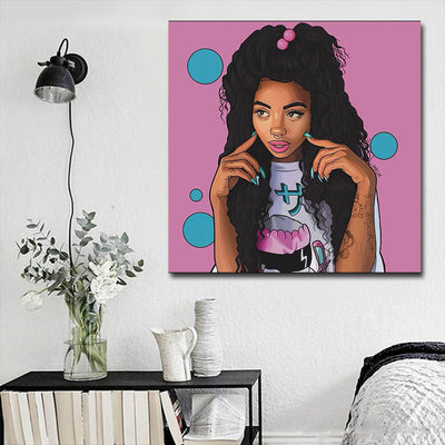 "BigProStore Black History Art Pretty Melanin Poppin Girl Framed African Wall Art Afrocentric Wall Decor BPS46119 16"" x 16"" x 0.75"" Square Canvas"