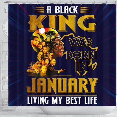 BigProStore Cool A Black King Was Born In January African Style Shower Curtains Afrocentric Bathroom Accessories BPS208 Shower Curtain