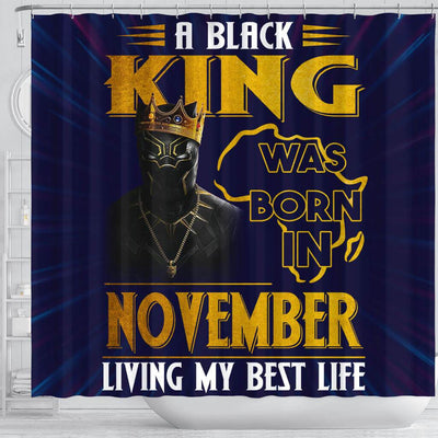 BigProStore Cool A Black King Was Born In November Birthday African American Art Shower Curtains Afrocentric Bathroom Decor BPS219 Shower Curtain