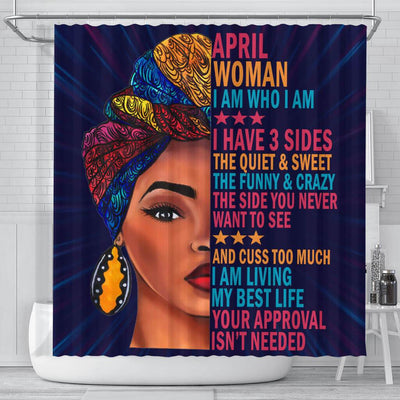 BigProStore Cool April Woman I Have 3 Sides I Live My Best Life Your Approval Isn't Needed Black History Shower Curtains Afro Bathroom Accessories BPS013 Small (165x180cm | 65x72in) Shower Curtain
