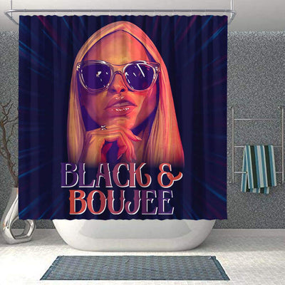 BigProStore Cool Black And Boujee Fashion Girl African American Print Shower Curtains Afro Bathroom Accessories BPS071 Shower Curtain