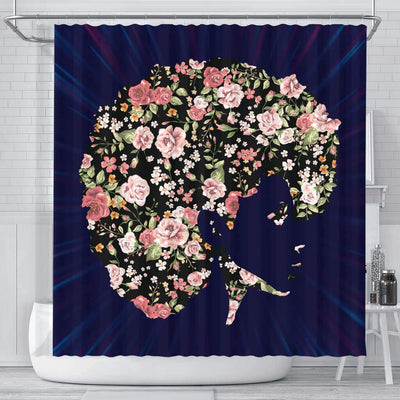 BigProStore Cool Flower Beautiful Black Girl African American Print Shower Curtains Afrocentric Bathroom Decor BPS119 Small (165x180cm | 65x72in) Shower Curtain