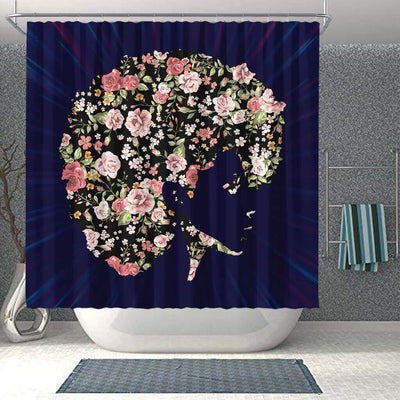 BigProStore Cool Flower Beautiful Black Girl African American Print Shower Curtains Afrocentric Bathroom Decor BPS119 Shower Curtain