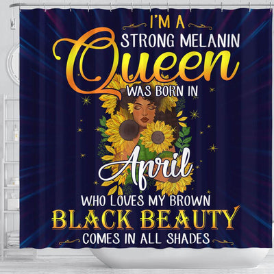 BigProStore Cool I'm A Strong Melanin April Queen Sunflower African American Themed Shower Curtains Afro Bathroom Accessories BPS111 Shower Curtain
