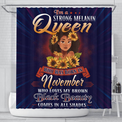BigProStore Cool I'm A Strong Melanin Queen Born In November Black History Shower Curtains African Bathroom Accessories BPS131 Small (165x180cm | 65x72in) Shower Curtain