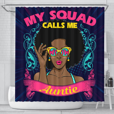 BigProStore Cool My Squad Calls Me Auntie Afro Girl Afrocentric Shower Curtains African Bathroom Accessories BPS176 Small (165x180cm | 65x72in) Shower Curtain