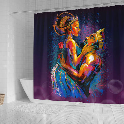 BigProStore Cool Pro Black King And Queen Art Black African American Shower Curtains African Style Designs BPS194 Small (165x180cm | 65x72in) Shower Curtain