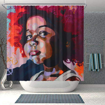 BigProStore Cute African American Art Shower Curtains Afro Woman Bathroom Decor Idea BPS0079 Small (165x180cm | 65x72in) Shower Curtain