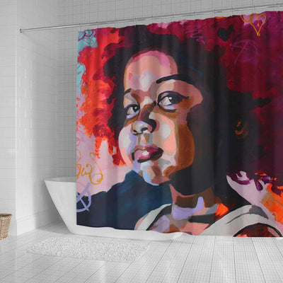 BigProStore Cute African American Art Shower Curtains Afro Woman Bathroom Decor Idea BPS0079 Shower Curtain