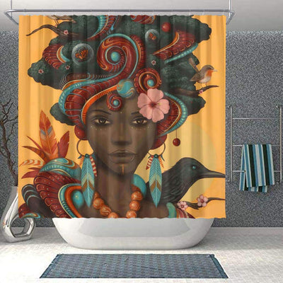 BigProStore Cute African American Art Shower Curtains Melanin Afro Woman Bathroom Designs BPS0093 Small (165x180cm | 65x72in) Shower Curtain