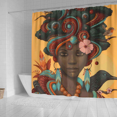 BigProStore Cute African American Art Shower Curtains Melanin Afro Woman Bathroom Designs BPS0093 Shower Curtain