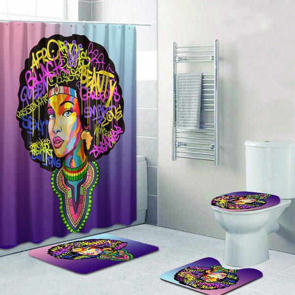 Cute African Inspired Afro Woman Bathroom Shower Curtain Set 4pcs Mode Bigprostore