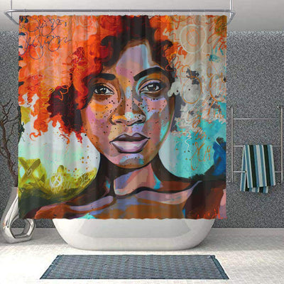BigProStore Cute African Inspired Shower Curtains Afro Lady Bathroom Decor Idea BPS0070 Small (165x180cm | 65x72in) Shower Curtain