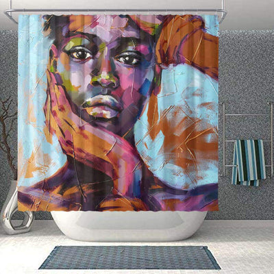 BigProStore Cute African Print Shower Curtains Black Girl Bathroom Decor Accessories BPS0083 Small (165x180cm | 65x72in) Shower Curtain