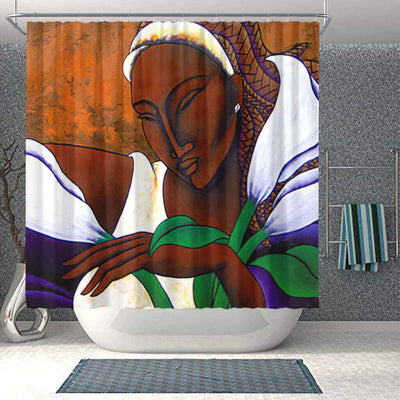 BigProStore Cute African Shower Curtain Afro Woman Bathroom Decor BPS0196 Small (165x180cm | 65x72in) Shower Curtain