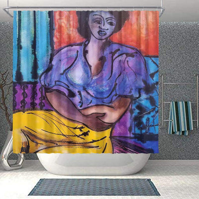 BigProStore Cute Afro American Shower Curtains African Girl Bathroom Decor Accessories BPS0246 Small (165x180cm | 65x72in) Shower Curtain