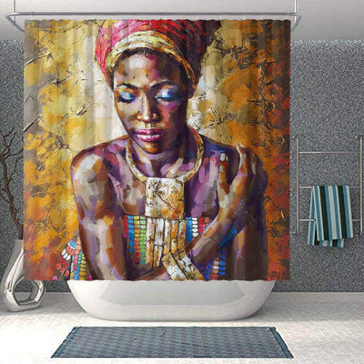 BigProStore Cute Afro American Shower Curtains African Woman Bathroom Decor Accessories BPS0084 Small (165x180cm | 65x72in) Shower Curtain