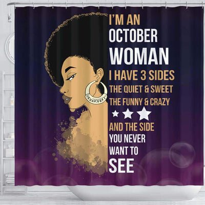 BigProStore Cute Afro Girl I'm A October Woman African American Themed Shower Curtains Afrocentric Bathroom Accessories BPS025 Shower Curtain