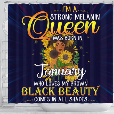 BigProStore Cute I'm A Strong Melanin January Queen Sunflower African American Art Shower Curtains Afrocentric Bathroom Accessories BPS115 Shower Curtain