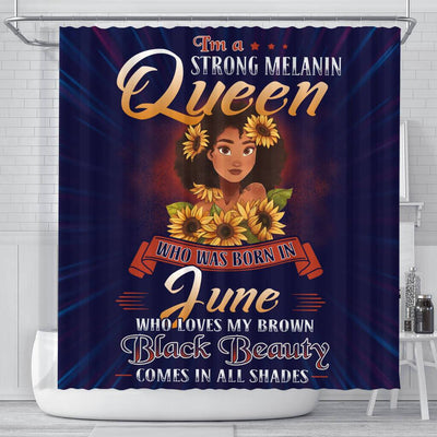BigProStore Cute I'm A Strong Melanin Queen Born In June Shower Curtains African American Afrocentric Bathroom Accessories BPS128 Small (165x180cm | 65x72in) Shower Curtain