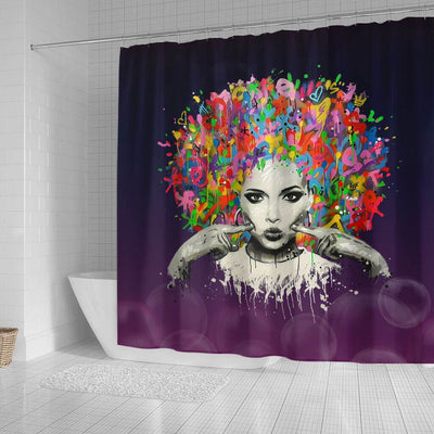 BigProStore Cute Melanin Woman Colorful Natural Hair Shower Curtains African American Afro Bathroom Accessories BPS169 Small (165x180cm | 65x72in) Shower Curtain