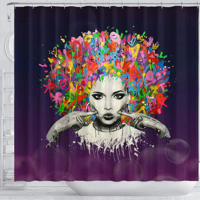 BigProStore Cute Melanin Woman Colorful Natural Hair Shower Curtains African American Afro Bathroom Accessories BPS169 Shower Curtain