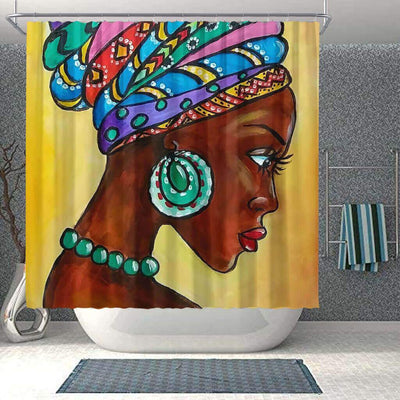 BigProStore Cute Natural Hair Shower Curtain Melanin Woman Bathroom Designs BPS0077 Small (165x180cm | 65x72in) Shower Curtain