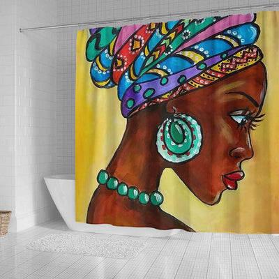 BigProStore Cute Natural Hair Shower Curtain Melanin Woman Bathroom Designs BPS0077 Shower Curtain