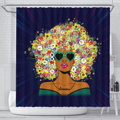 BigProStore Cute Natural Women Flower In Hair African American Inspired Shower Curtains Afro Bathroom Decor BPS185 Small (165x180cm | 65x72in) Shower Curtain
