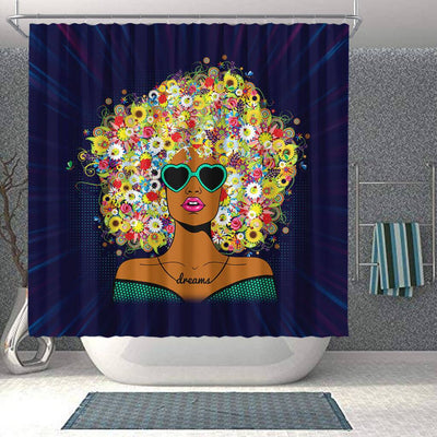 BigProStore Cute Natural Women Flower In Hair African American Inspired Shower Curtains Afro Bathroom Decor BPS185 Shower Curtain