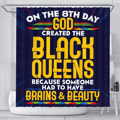 BigProStore Cute On The 8Th Day God Created The Black Queen Black African American Shower Curtains Afro Bathroom Accessories BPS187 Small (165x180cm | 65x72in) Shower Curtain