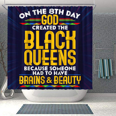 BigProStore Cute On The 8Th Day God Created The Black Queen Black African American Shower Curtains Afro Bathroom Accessories BPS187 Shower Curtain