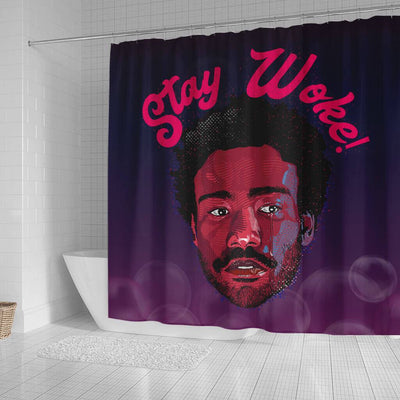 BigProStore Cute Stay Woke Afro Man African American Art Shower Curtains Afro Bathroom Accessories BPS212 Small (165x180cm | 65x72in) Shower Curtain