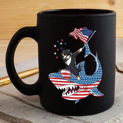 BigProStore Dabbing Bernese Mountain Rides Shark Coffee Mug Father's Day Mother's Day Independence Day Gift Idea BPS125 Black / 11oz Coffee Mug