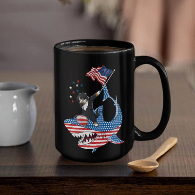 BigProStore Dabbing Bernese Mountain Rides Shark Coffee Mug Father's Day Mother's Day Independence Day Gift Idea BPS125 Black / 15oz Coffee Mug