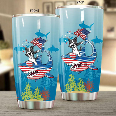BigProStore Dabbing Border Collie Rides Shark Tumbler Father's Day Mother's Day Independence Day Gift Idea BPS115 White / 20oz Steel Tumbler