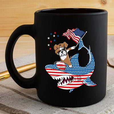 BigProStore Dabbing Boxer Rides Shark Coffee Mug Father's Day Mother's Day Independence Day Gift Idea BPS190 Black / 11oz Coffee Mug