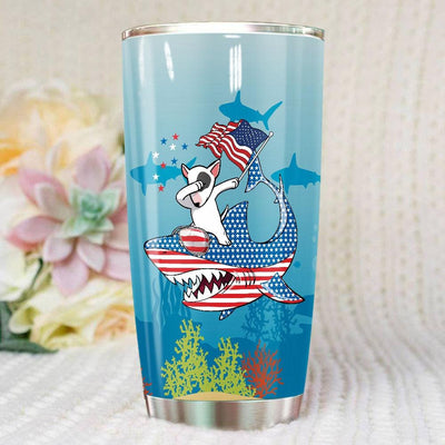 BigProStore Dabbing Bull Terrier Rides Shark Tumbler Father's Day Mother's Day Independence Day Gift Idea BPS192 White / 20oz Steel Tumbler