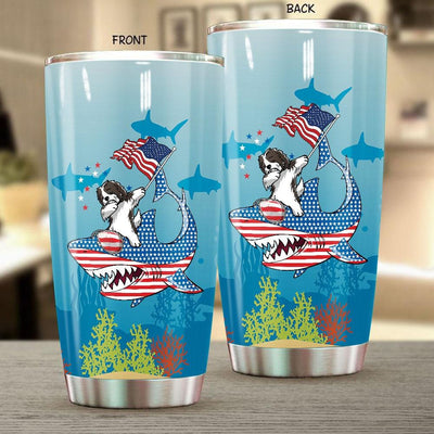 BigProStore Dabbing Havanese Rides Shark Tumbler Father's Day Mother's Day Independence Day Gift Idea BPS157 White / 20oz Steel Tumbler