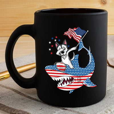 BigProStore Dabbing Husky Rides Shark Coffee Mug Father's Day Mother's Day Independence Day Gift Idea BPS882 Black / 11oz Coffee Mug