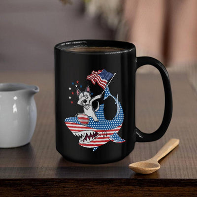 BigProStore Dabbing Husky Rides Shark Coffee Mug Father's Day Mother's Day Independence Day Gift Idea BPS882 Black / 15oz Coffee Mug