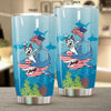 BigProStore Dabbing Husky Rides Shark Tumbler Father's Day Mother's Day Independence Day Gift Idea BPS882 White / 20oz Steel Tumbler