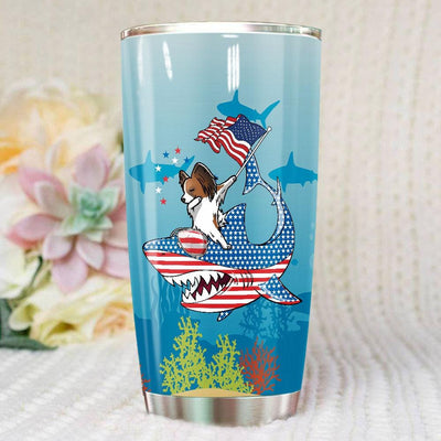 BigProStore Dabbing Papillon Rides Shark Tumbler Father's Day Mother's Day Independence Day Gift Idea BPS002 White / 20oz Steel Tumbler