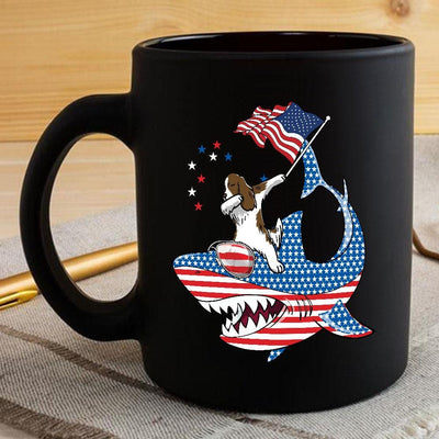 BigProStore Dabbing Springer Rides Shark Coffee Mug Father's Day Mother's Day Independence Day Gift Idea BPS189 Black / 11oz Coffee Mug