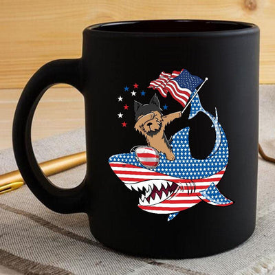BigProStore Dabbing Yorkshire terrier Rides Shark Coffee Mug Father's Day Mother's Day Independence Day Gift Idea BPS109 Black / 11oz Coffee Mug