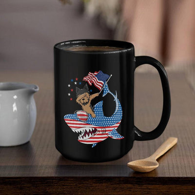 BigProStore Dabbing Yorkshire terrier Rides Shark Coffee Mug Father's Day Mother's Day Independence Day Gift Idea BPS109 Black / 15oz Coffee Mug