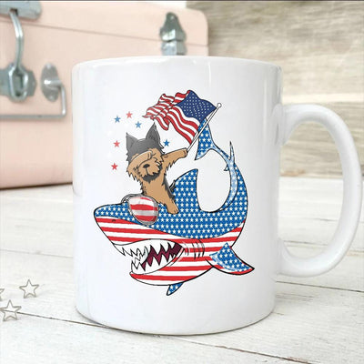 BigProStore Dabbing Yorkshire terrier Rides Shark Coffee Mug Father's Day Mother's Day Independence Day Gift Idea BPS109 White / 11oz Coffee Mug